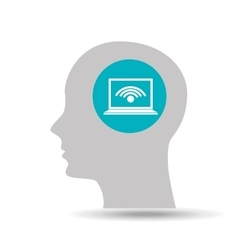 silhouette head technology connection icon graphic vector image
