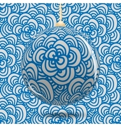 Transparent Christmas ball on background with blue vector image vector image