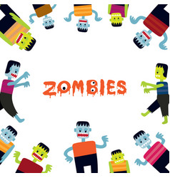 Zombie cartoon characters frame vector