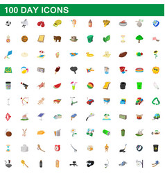 100 day icons set cartoon style vector image vector image