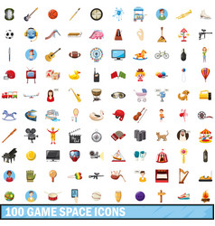 100 game space icons set cartoon style vector
