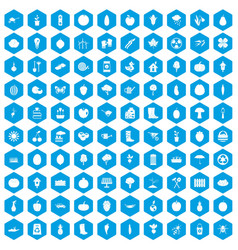 100 garden icons set blue vector