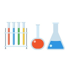 Chemistry flasks set vector