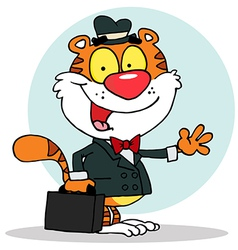 Salesman tiger waving and carrying a briefcase vector