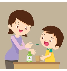 Children eat medicine vector