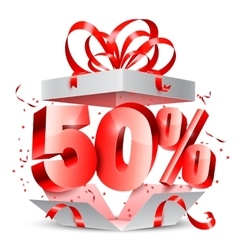 Fifty percent discount gift vector