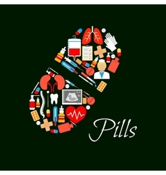 Medical pill poster of medicines vector