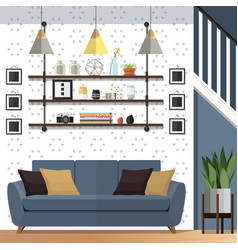 Stylish living room decorating designs vector