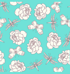Insects and peony seamless pattern on white vector