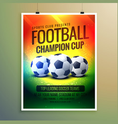 amazing football background for event flyer and vector image