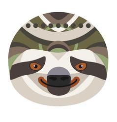 Sloth head logo decorative emblem vector