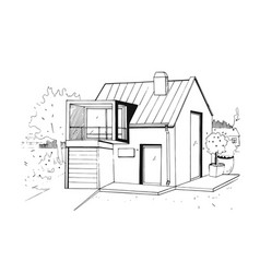 hand drawn country house modern private vector image