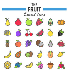 Fruit line icon set food symbols collection vector