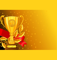 Realistic gold cup laurel branch and ribbon vector
