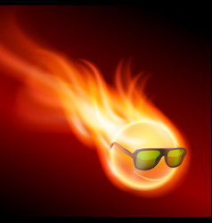 yellow burning ball wearing sunglasses vector image