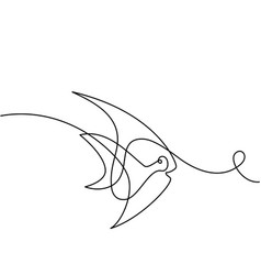 Continuous line exotic fish logo vector