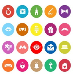 Wedding flat icons on white background vector