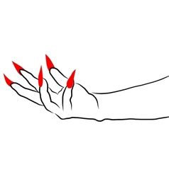 Ghost hand with red nail vector