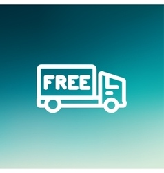 Free delivery van thin line icon vector