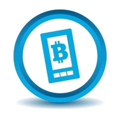 Bitcoin screen icon blue 3d vector