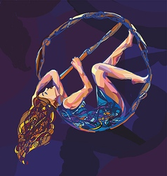 Pole dance women with aerial hoop vector