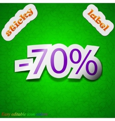 70 percent discount icon sign symbol chic colored vector