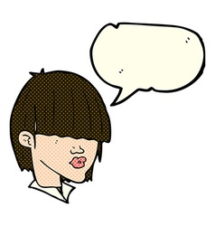 Cartoon fashion haircut with speech bubble vector