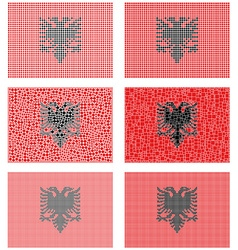 Mosaic albania flag set vector