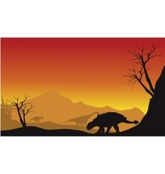 Ankylosaurus and brachiosaurus in fields scenery vector