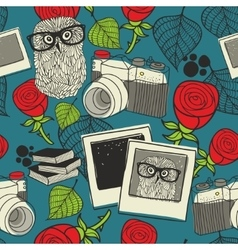 Seamless pattern with smart owl vector image