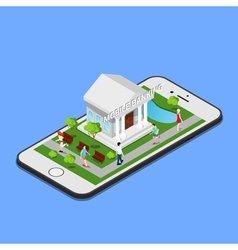 Isometric mobile banking isometric bank mobile vector