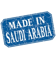 Made in saudi arabia blue square grunge stamp vector