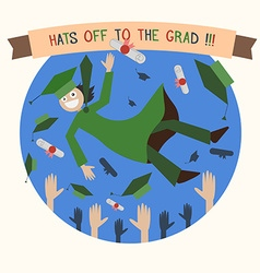 Graduation happy student caps and diploma tossing vector
