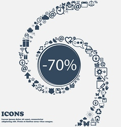 70 percent discount sign icon sale symbol special vector