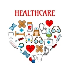 Medical equipment icons in form of heart vector