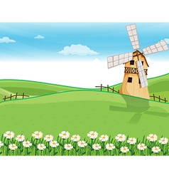 A farmhouse above the hills with a windmill vector