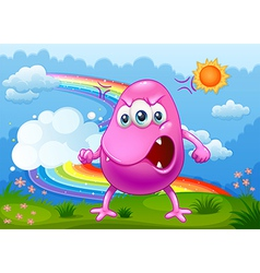 An angry monster with a rainbow in the sky vector