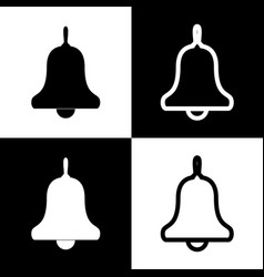 Bell alarm hand bell sign black and vector