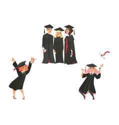 flat graduate people celebrating vector image