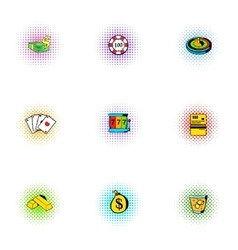 Gambling icons set pop-art style vector