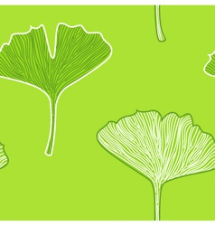 Ginkgo seamless interior wallpaper - fresh green vector