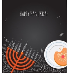 Hanukkah menorah and doughnut over chalkboard vector image vector image