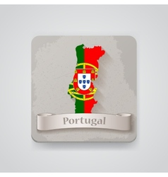 Icon of portugal map with flag vector