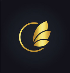 leaf round sign gold logo vector image vector image