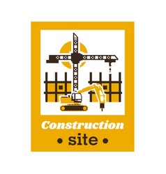 logo of the construction site big crane an vector image