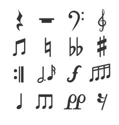 Music notes symbols set vector image vector image