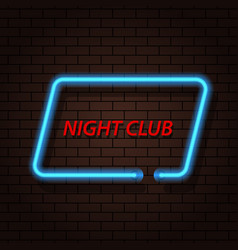 Neon signboard nightclub on a brick background vector