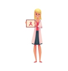 Oncologist doctor standing and holding a poster vector