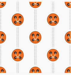 Pattern with orange buttons and stitches vector