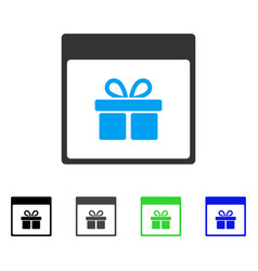 Present box calendar page flat icon vector
